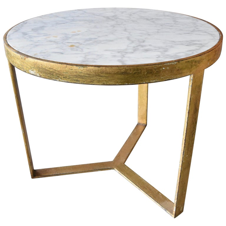 Steel Table with Gold Gilt and Marble Top for Antica Collection For Sale
