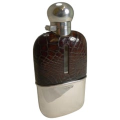 Antique English Sterling Silver and Crocodile / Alligator Hip Flask, 1898