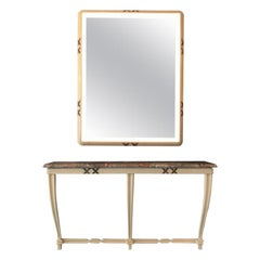 Osvaldo Borsani Painted Console and Matching Backlit Wall Mirror