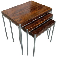 Set of 3 Mid-Century Modern Milo Baughman Style Rosewood Chrome Nesting Tables