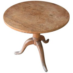Italian 19th Century Round Walnut Side Table