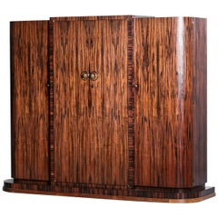 Large Art Deco Wardrobe from the 1930s French Ebony Macassar and Rosewood Rio