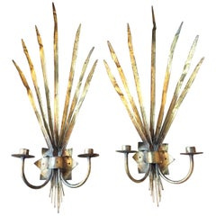 Pair of Spanish Gold Leafed Palm Frown Metal Sconces