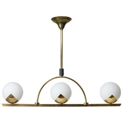 French Modernist Brass and Satin Glass Chandelier, 1950s