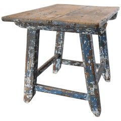 Early 18th Century Primitive Painted Spanish Child's Table or Stool