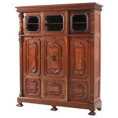 Dutch Oak Renaissance Revival Bookcase with Sliding Doors, 1890s