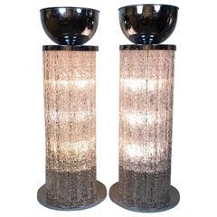 Pair of Italian Lucite and Chrome Jardinieres Floor Lights
