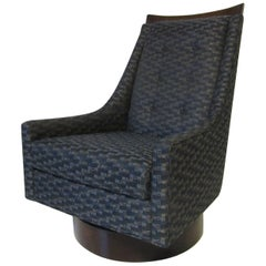 Upholstered Rocking and Swiveling Lounge Chair in the Style of Pearsall