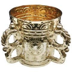 Jacobian Style Victorian Silver Four Handled Loving Cup, 1880