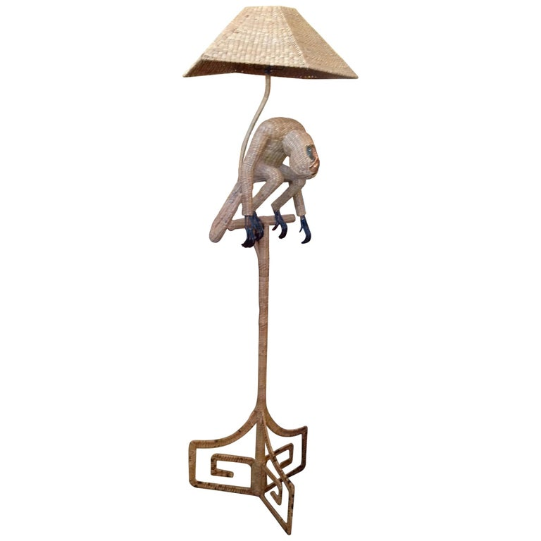 Mario Lopez Torres Wicker Monkey Floor Lamp For Sale