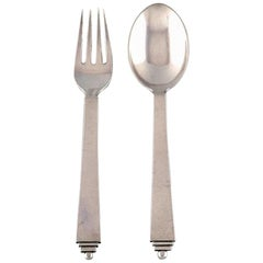Georg Jensen Sterling Silver 'Pyramid' Cutlery, Child's Set of Spoon and Fork