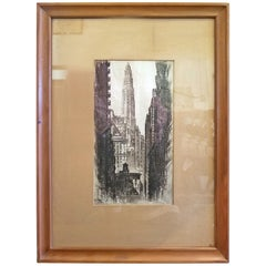 Original Etching by AC Webb Paris of Mather Tower Chicago