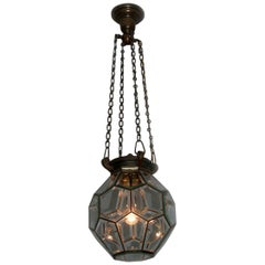 Pentagon Beveled Glass Geometric Ceiling Light in Adolf Loos Style, Early 1900s