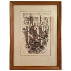 Original Etching by AC Webb of Chicago Skyline in 1930