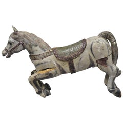 Antique Solid Wood Carved and Painted Carousel Style Horse