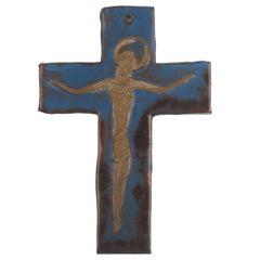 Wall Cross, Blue, Black, Brown Painted Ceramic, Handmade in Belgium, 1960s