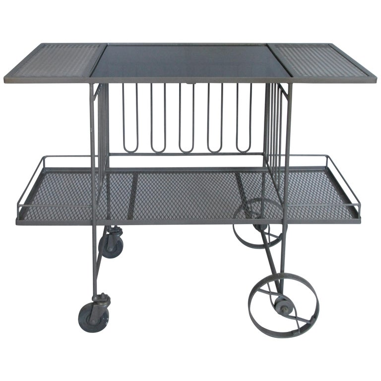 Wrought Iron and Glass 1950s Bar Cart by Salterini For Sale