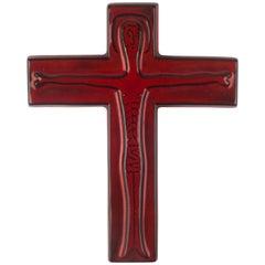 Wall Cross in Ceramic, Red, Black, Handmade in Belgium, 1960s