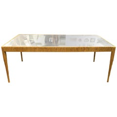 French Art Deco Giltwood Cocktail Table with Mirror Top