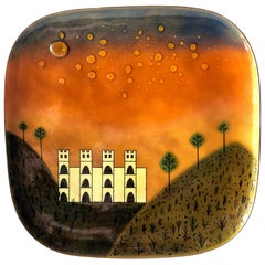 Miguel Pineda Mexican Modernist Copper Enamel Tray