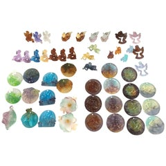 Collection of 52 Daum Christmas Ornaments, in Pâte de verre, France, 1989-2000