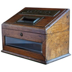 Mid-19th Century Country House Oak Letter Box with Brass Slot and Beveled Glass