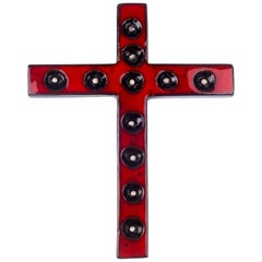 Wall Cross, Red, White, Black Painted Ceramic, Handmade in Belgium, 1970s