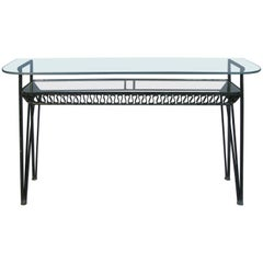 Iron and Glass 1950s Console Table by Salterini