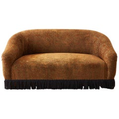 Curved Bohemian Style Settee with Bullion Fringe