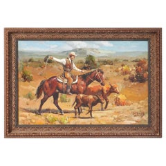 Original Western Oil on Canvas Painting of Cowboy on Horseback Roping Calf