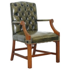 Thomas Chippendale Style Green Leather Chesterfield Gainsborough Carver Armchair