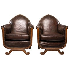 French Art Deco Leather Club Chairs with Curved Foot Base