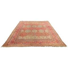 Antique Oushak Carpet Allover Stylized Geometric Diamond Design