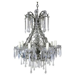 French Louis XV Style Crystal Chandelier, circa 1940s