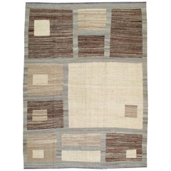 Modern Turkish Flat-Weave Carpet