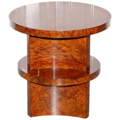 Ralph Lauren Brewster Solid Burl Burr Walnut Side End Lamp Wine Table