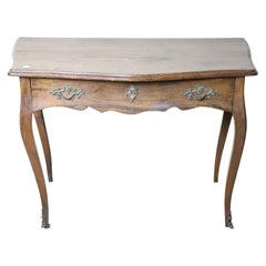 18th Century Italian Louis XV Walnut Writing Desk, Cabriolet Legs