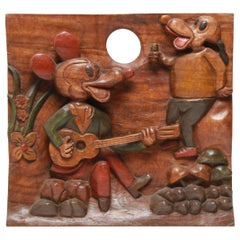 American Folk Art Carved and Painted Cartoon Wood Plaque
