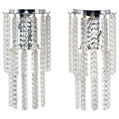 Pair of Murano Glass Sconces with Strands of Clear Glass Disks