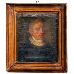 Small Oil on Canvas Painting, Portrait of a Gentleman, circa 1840