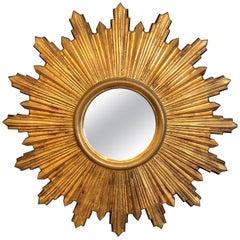 Shimmering Small Giltwood Sunburst Mirror
