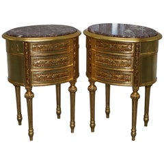 Pair of French Giltwood Side Lamp Wine Tables, Solid Marble Tops & Three Drawers