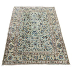 Midcentury Kashan Rug with Pistachio Background Allover Design