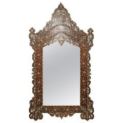 Superb 1900s Syrian Mirror Inlaid with Mother of Pearl
