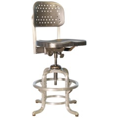 Vintage Industrial GoodForm Adjustable Drafting Stool with Large Backrest