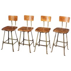 Set of 4 Authentic Vintage Industrial Shop Stools