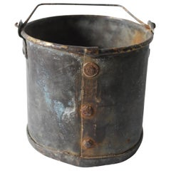 18th Century European Studded Patinated Copper Bucket