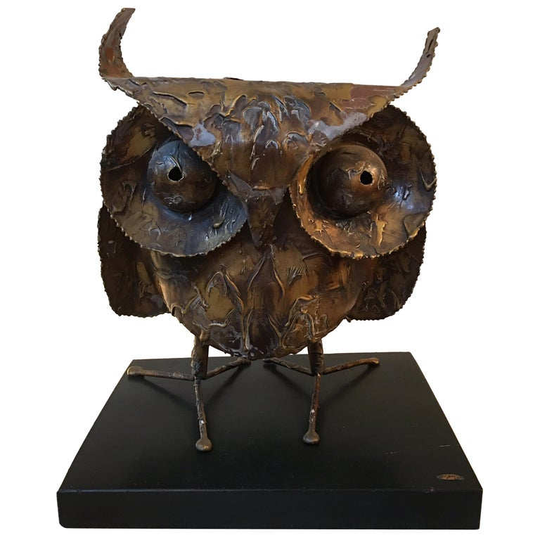 Curtis Jere 1968 Owl on Wood Stand For Sale