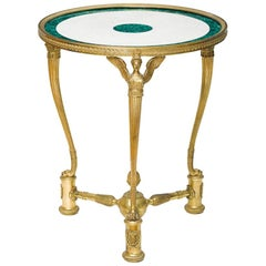 French Ormolu Bronze Malachite and White Marble Gueridon Table, circa 1870