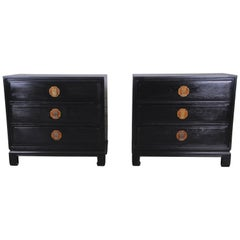 Ebonized Hollywood Regency Chinoiserie Nightstands or Bachelor Chests, Pair